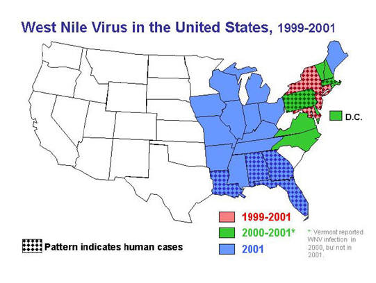 map: West Nile virus in the US, 1999-2001